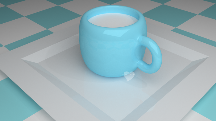 3D Blender cup with milk on a plate