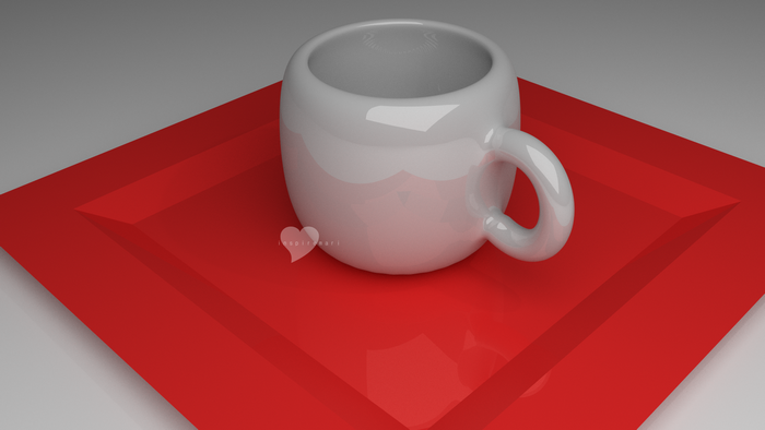 3D Blender cup on a plate