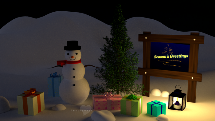 ART: 3D Christmas Greeting blender cycles