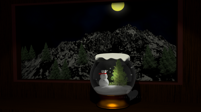 3d christmas snowglobe snowman and tree blender cycles