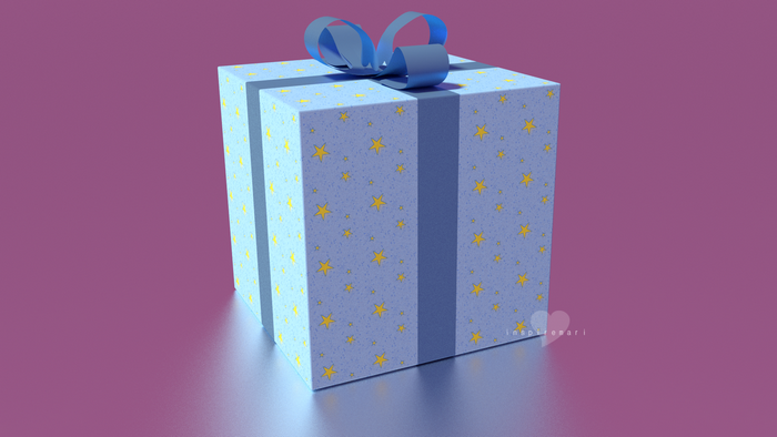 3d giftbox blue with stars