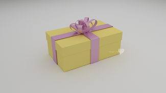 3d giftbox yellow and pink