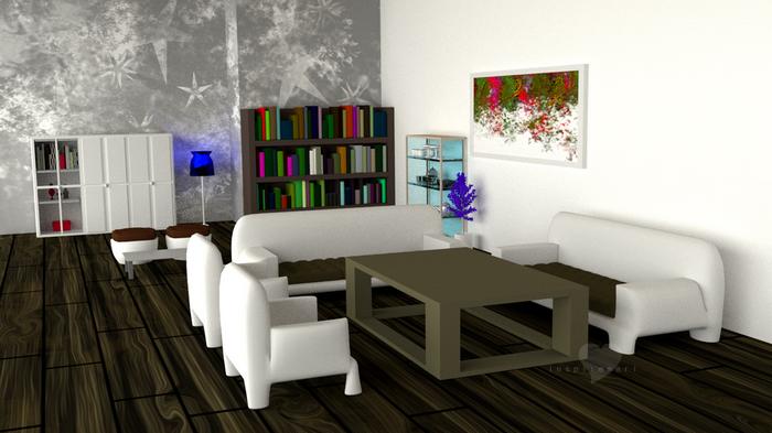 3d living room white blender cycles