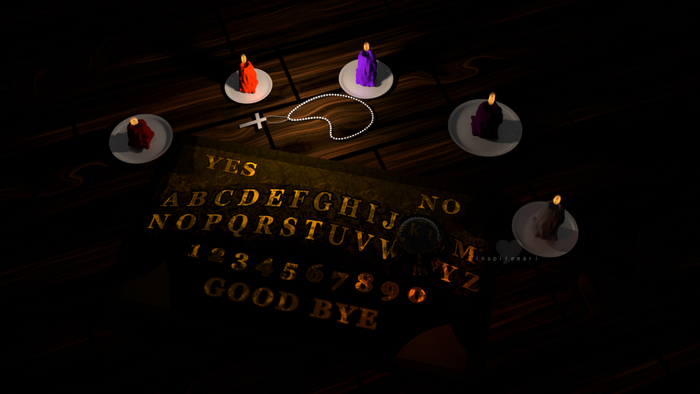 ART: 3D scene ouija board candles