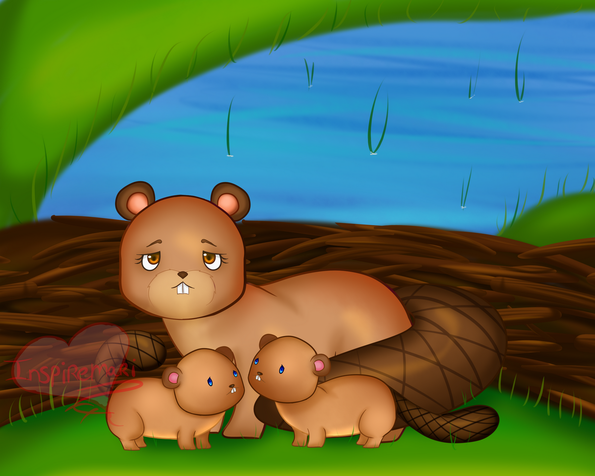 Beaver mom with beaver kids art by InspireMari