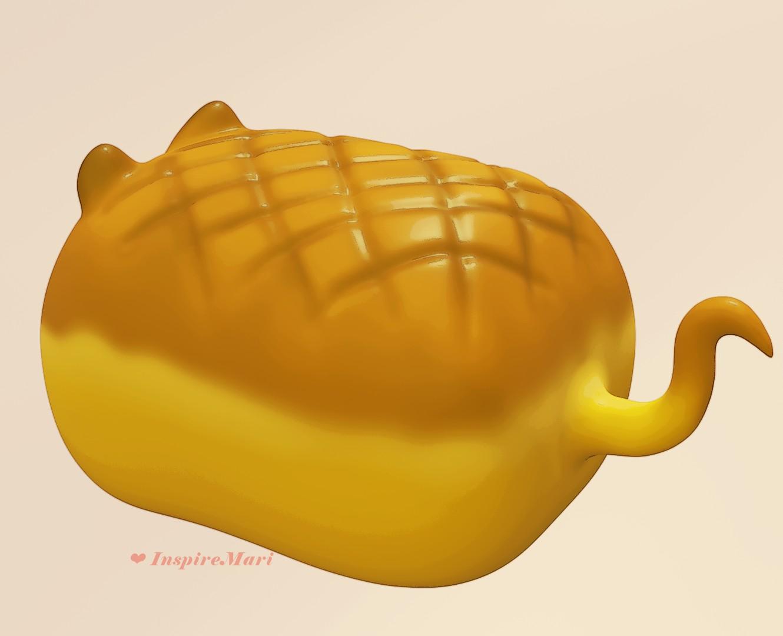kawaii cat bread cartoon style