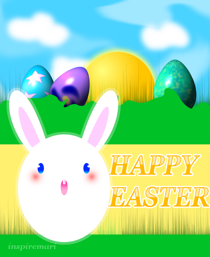 Easter Bunny with eggs greeting graphic poster