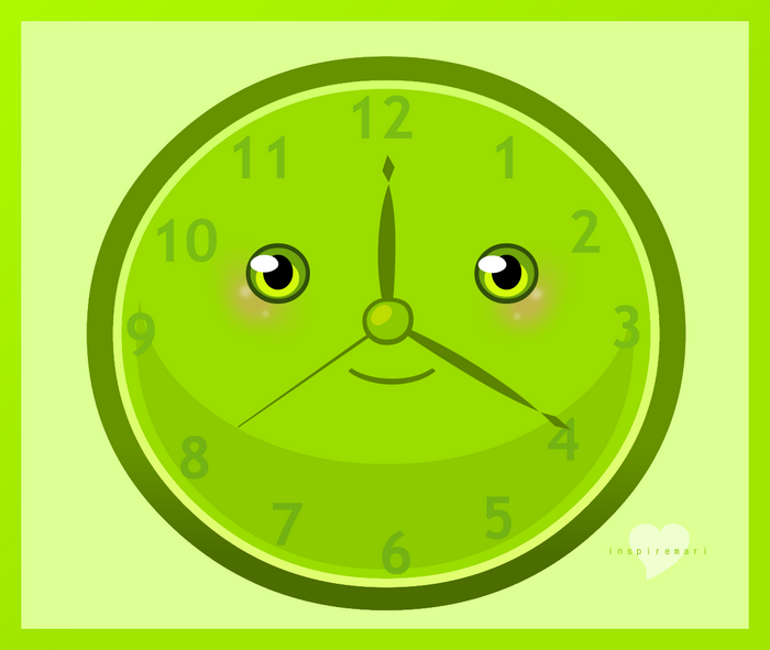 Kawaii Faced Clock Art