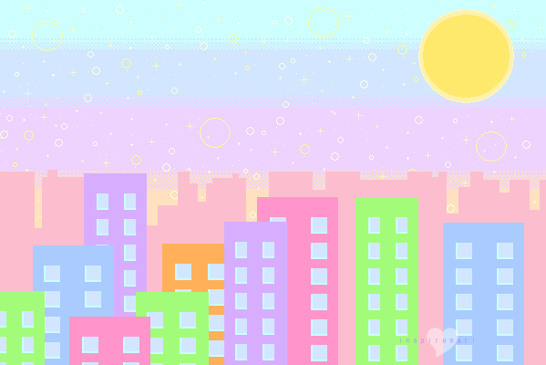 Day time city pixel graphic