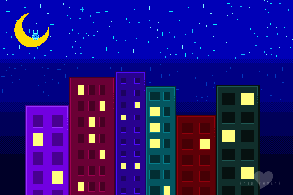 Night time city pixel graphic
