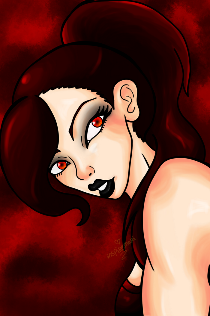 red goth girl art portrait sexy