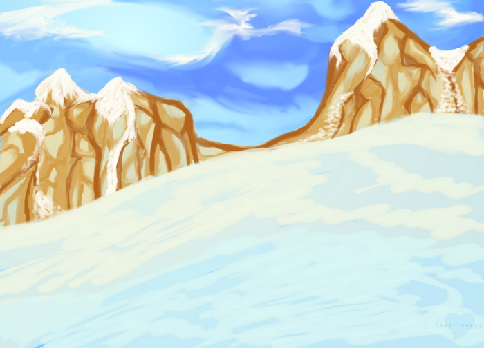 Gimp snow and mountains scene art