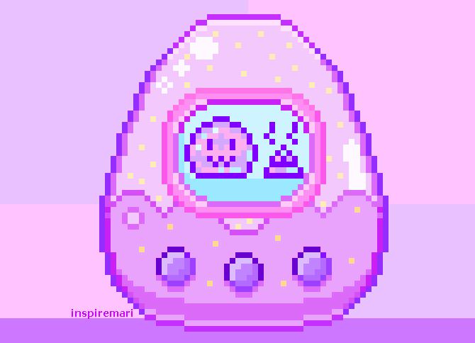 Pixel art kawaii tamagotchi pink and purple