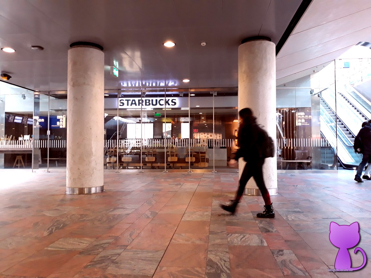 Eateries, restaurants, cafes, bars are all closed in the Netherlands. This photo depicts a closed Starbucks establishment at Rotterdam Central