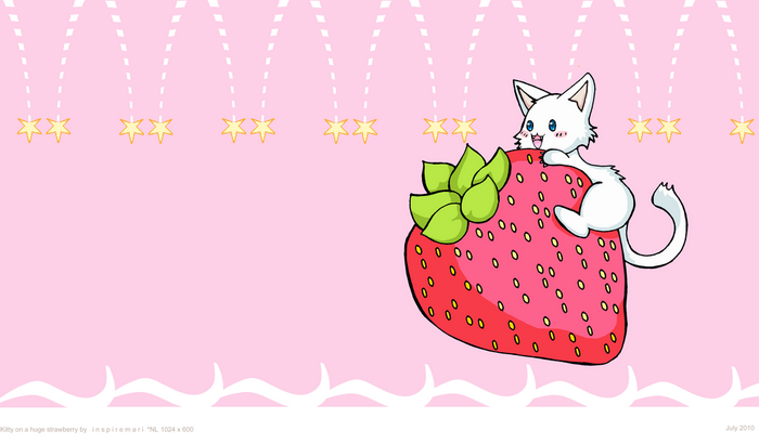 Kitty on a Huge Strawberry Kawaii