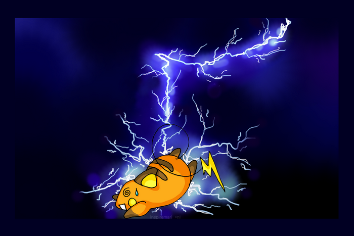 Raichu struck by lightning