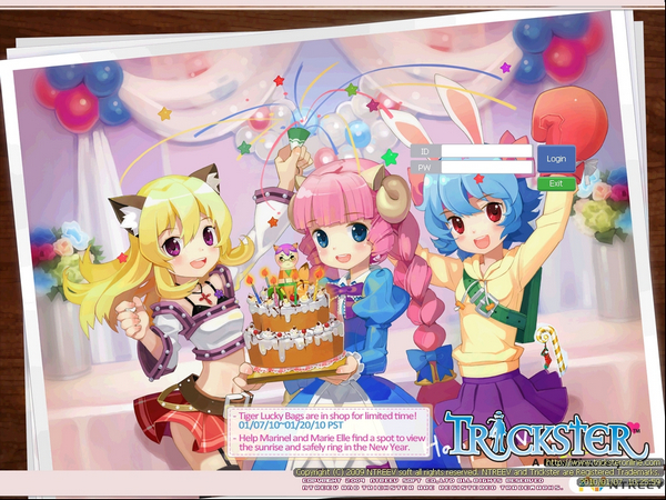 Trickster Online Login Screen