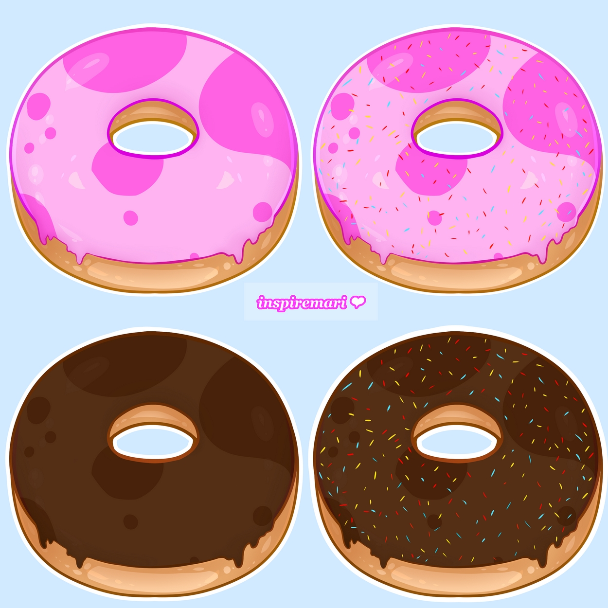 Kawaii Strawberry and Chocolate Donuts