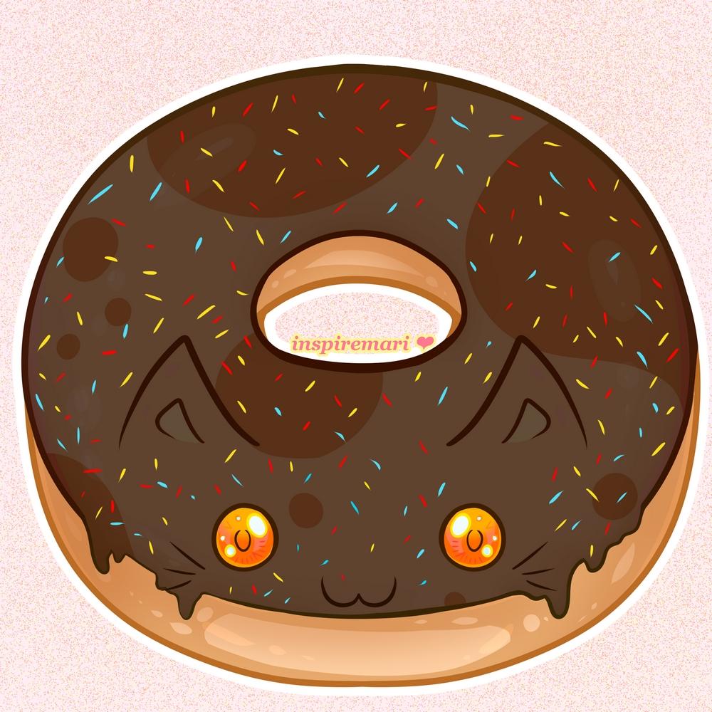 Kawaii Choco Cat Donut with Sprinkles