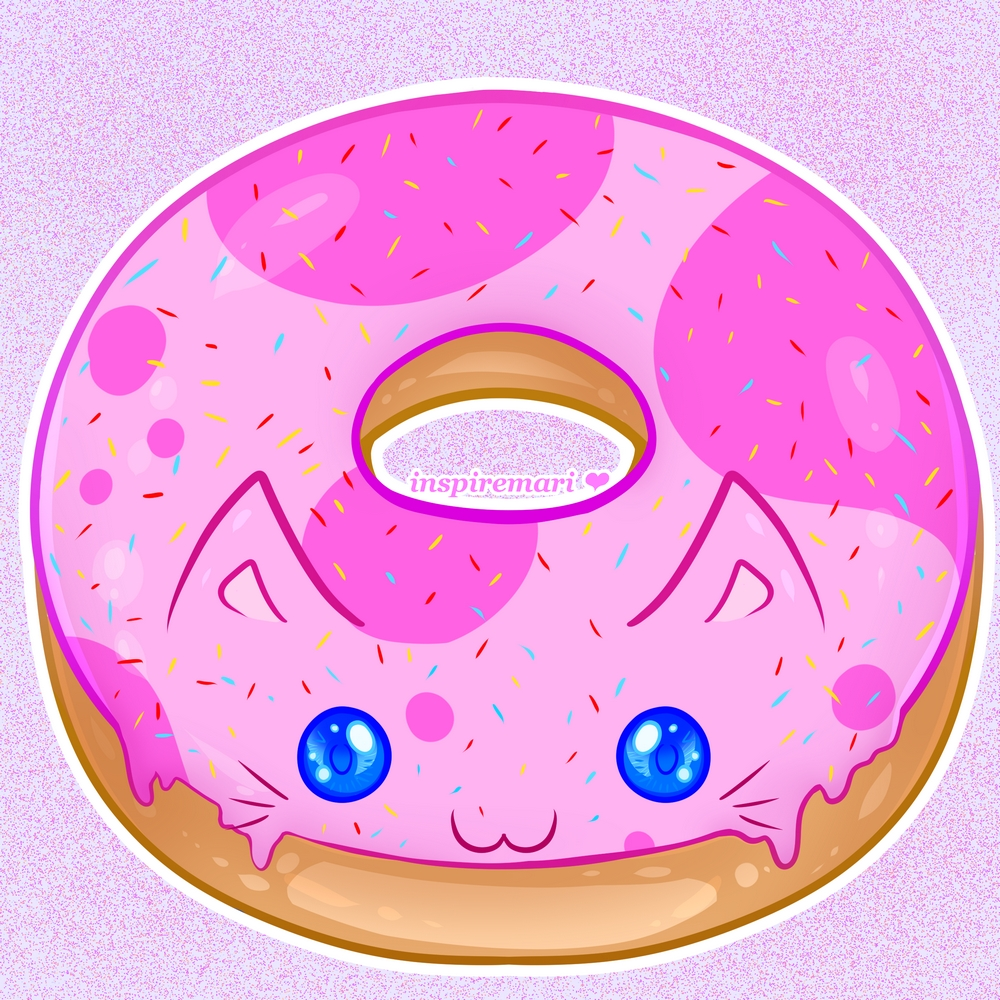 Kawaii Strawberry Cat Donut with Sprinkles