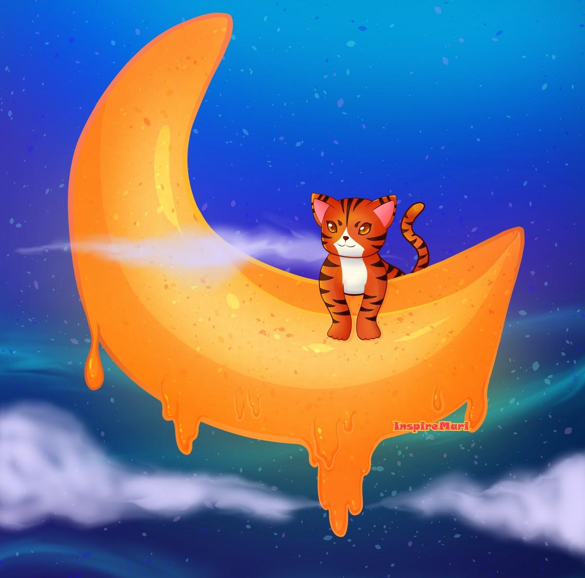 Tiger on the Moon by InspireMari melty moon cute kawaii cat