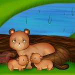 Art: Beaver mom with beaver kids