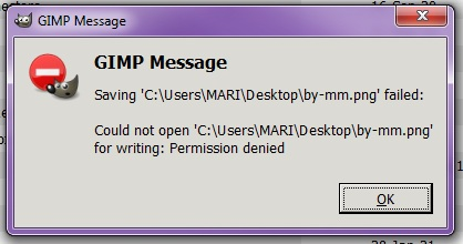 GIMP doesn't let me save images permission denied