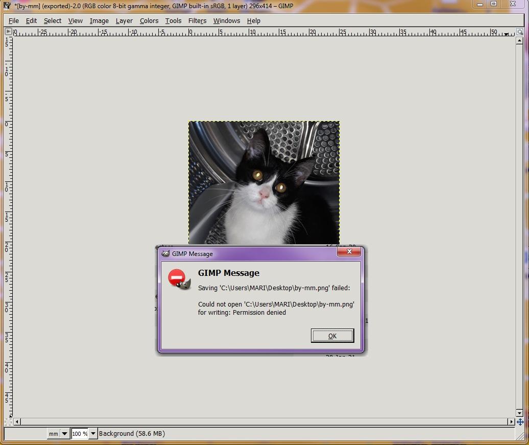 Problem saving images in GIMP: Permission Denied