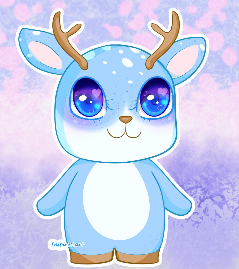 Kawaii Blue Deer Cute Shika