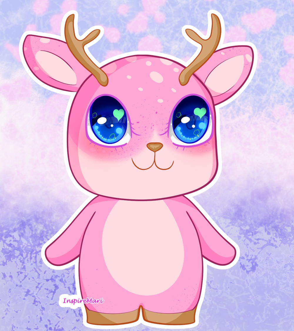 Kawaii Pink Deer Cute Shika
