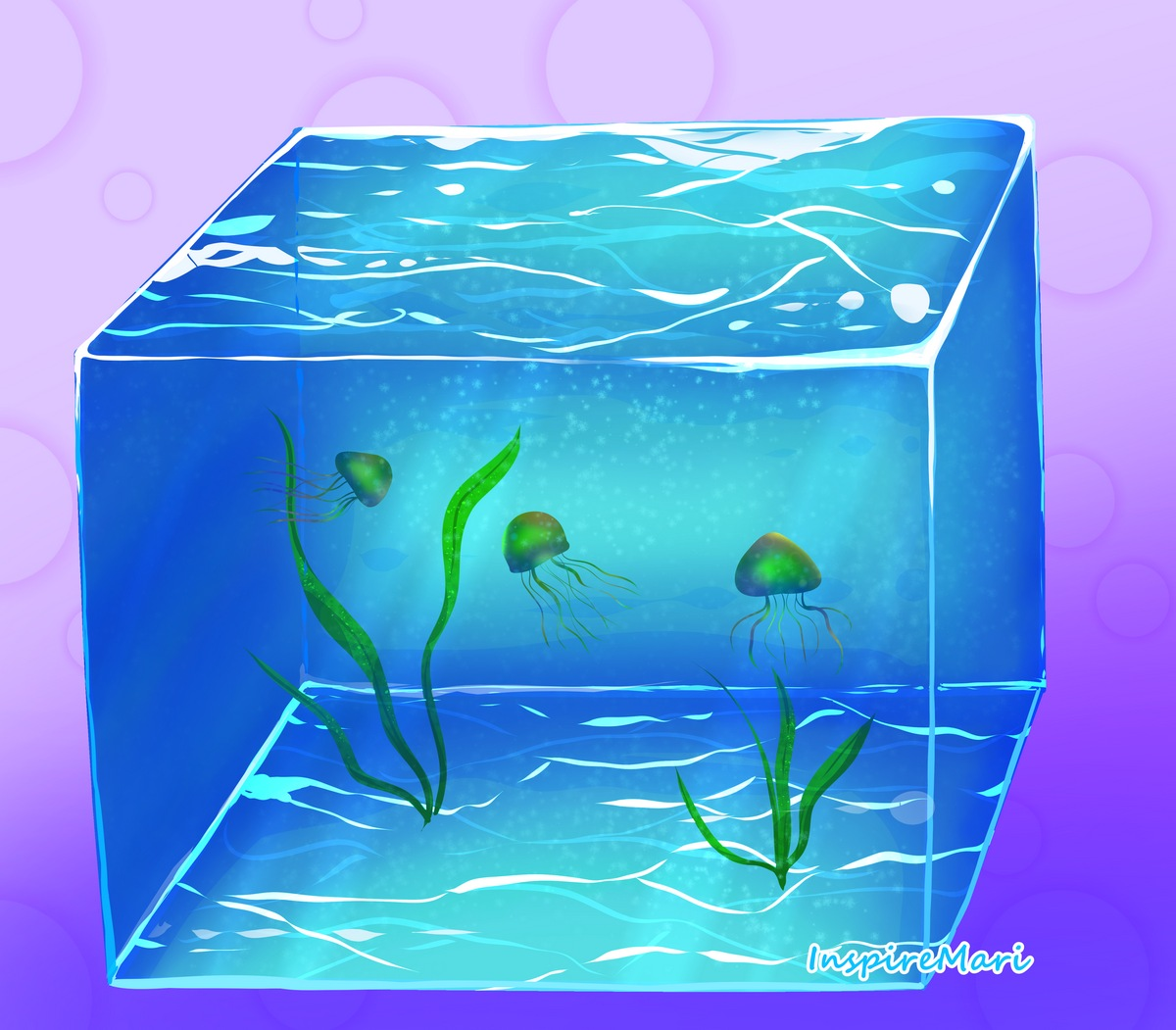 Water Cube with jellyfish art by InspireMari